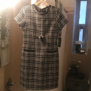 Karl Lagerfeld bl & wh tweed leather trim dress